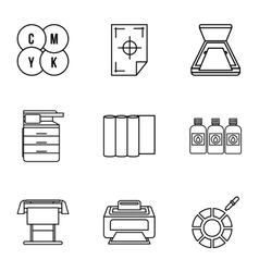 Print icons set outline style vector