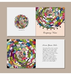 Greeting card design floral mandala vector