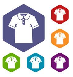 Men polo shirt icons set hexagon vector