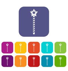 Magic wand icons set flat vector