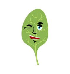 Spinach winks emoji green leaves happy emotion vector