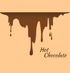 melted brown hot chocolate flow down vector image