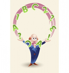Man juggling with letters vector