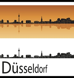 Dusseldorf skyline in orange background vector