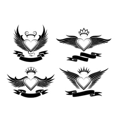 Winged hearts set vector