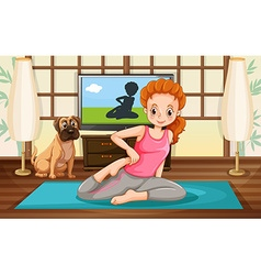 Girl and yoga vector