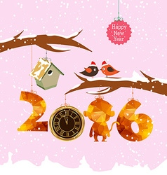 Happy new year 2016 with birdhouse for winter gold vector