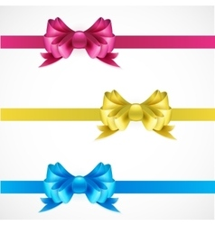 Set of gift bows with ribbons pink gold and blue vector
