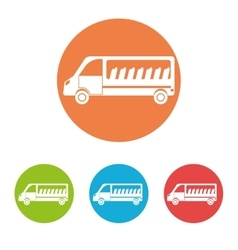 Transport vehicles on round icon vector