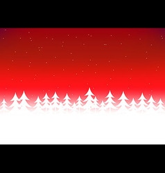 Christmas tree snow red sky vector