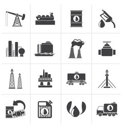 Black petrol and oil industry icons vector