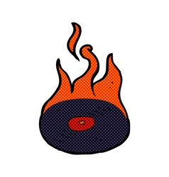 Comic cartoon burning vinyl record vector