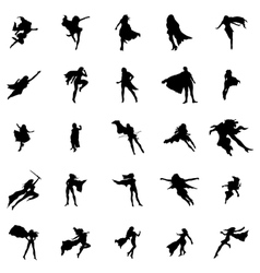 Superhero woman silhouettes set vector