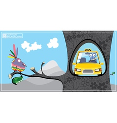 Cartoon scene with bird and taxi vector