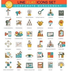 Corporate management animal flat line icon vector