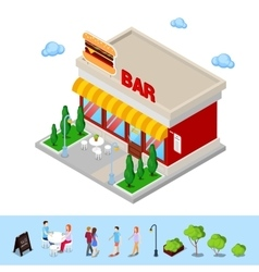 Isometric city fast food bar with table and trees vector