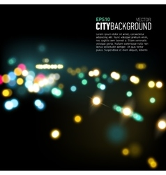 Abstract city background with bokeh lights vector