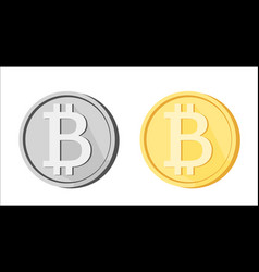 Bitcoin btc icons greyscale golden yellow isolated vector