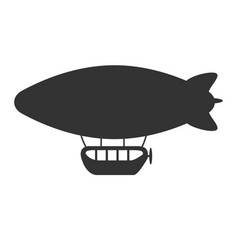 Black and white air balloon or airship icon vector