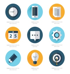 Business set of flat design icons 4 color vector
