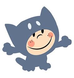 Cartoon child cat costume vector image vector image