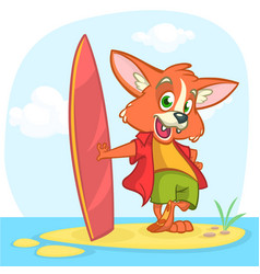 Cartoon summer holiday background with fox surfer vector