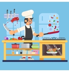 Chef prepares in kitchen Flat vector image