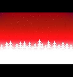 Christmas tree snow red sky vector