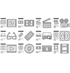 Cinema line icon set vector image