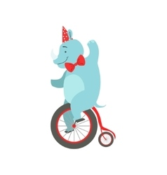 Circus trained rhinoceros animal in party hat and vector