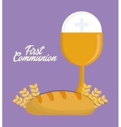 cup bread gold religion icon graphic vector image