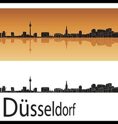 Dusseldorf skyline in orange background vector