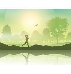 Female jogging in the countryside vector image