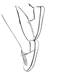Foot sketch in hand drawn sneakers vector