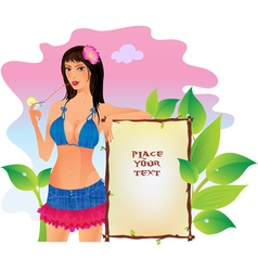 Girl with banner vector image vector image