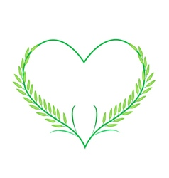 Green rice or jasmine rice in a heart shape vector