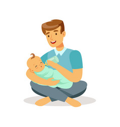 happy father sitting on the floor with his baby vector image