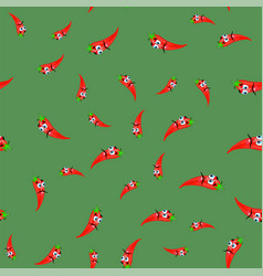 Hot cartoon red peppers seamless pattern vector