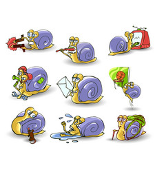 mr snail on white background vector image vector image