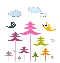 Paper Trees Birds and Clouds vector image vector image