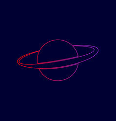 Planet in space sign line icon with vector