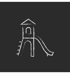 Playground with slide icon drawn in chalk vector