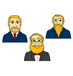 Portraits of aged men in cartoon style vector