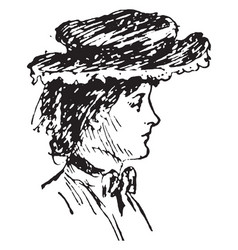 Right profile of woman face vintage engraving vector