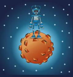 Robot engineer moon space stars vector
