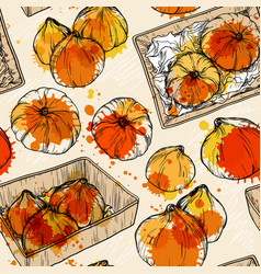Seamless pattern with hand drawn pumpkin vector