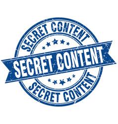 secret content round grunge ribbon stamp vector image vector image