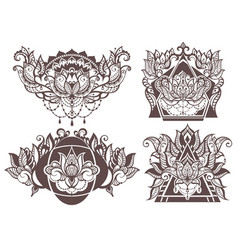 Set of boho lotus vector
