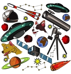 Set of space elements vector image