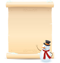 snowman and parchment sign vector image vector image